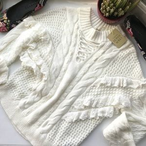 Torn by Ronny Kobo Ivory Crew Neck Sweater
